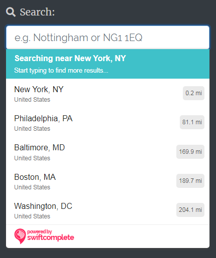 Searching for large cities near New York, USA